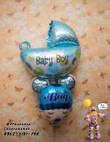 коляска и голова на выписку для мальчика, гелевые шары стерлитамак, шары стерлитамак, шарминатор, шары на выписку в Стерлитамаке заказать