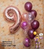 9 розовое золото, бургундия  и с конфетти  Шары  стерлитамак гелиевые шары стерлитамак доставка шаров стерлитамак гелевые шары стерлитамак Шарминатор
